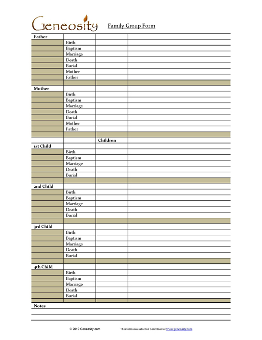 Genealogy family group form for Family group record template