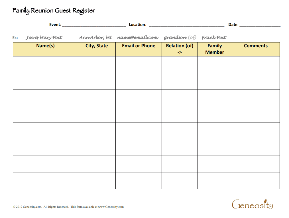 family reunion guest register
