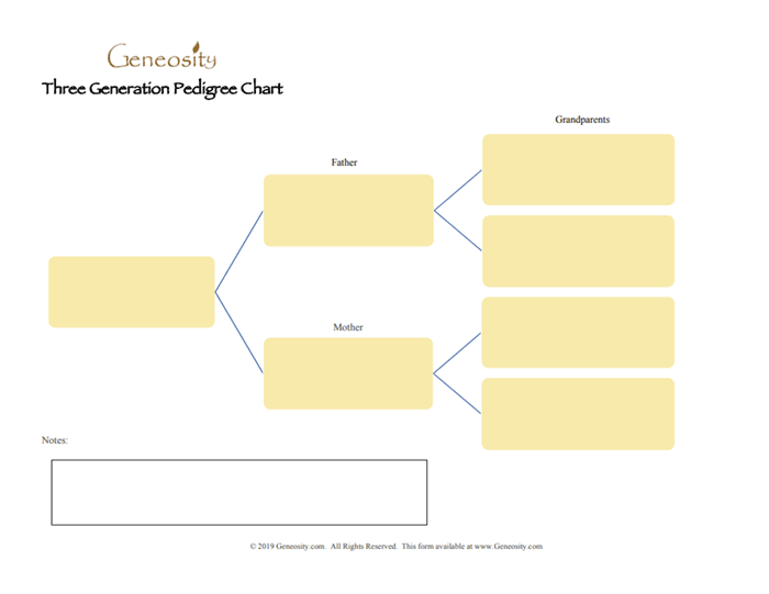three generation pedigree genealogy chart