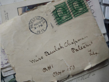 Old Letter Envelope Miss Beulah Chapman - Palestine, Texas dated 1912