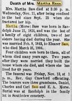 Martha Bass Obituary 1904