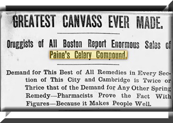 Old Newspaper with Tonic Called Pain's Celery Compound