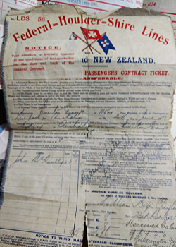 ship passenger ticket he ship was the Everton Grange traveling from Liverpool to Sydney Australia. According to the ship voyages it went to Port Adelaide.
