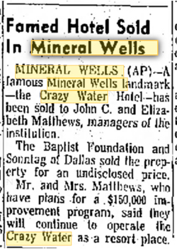 mineral well crazy water newspaper