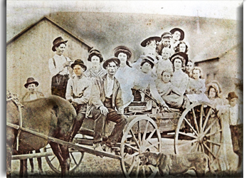 Photo of an Old Wagon in Beaumont Texas - Possibly Kids in a School