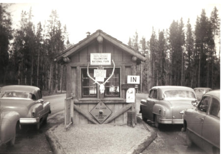 1950's at the entrance to Yellowstone National Park