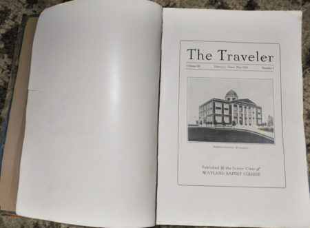 Inside Cover Traveler Wayland Baptist College Yearbook in 1916