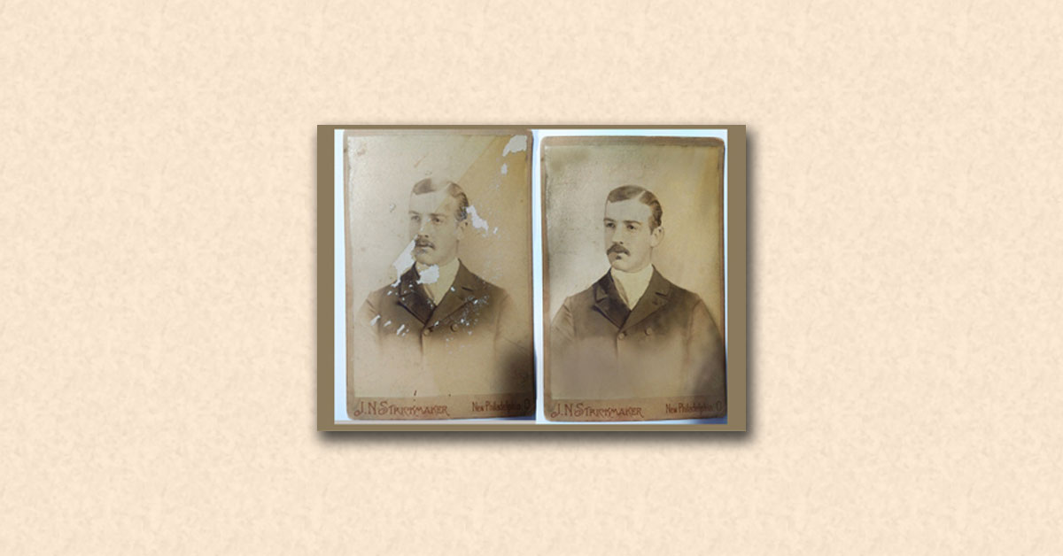 old antique cabinet card photo restoration